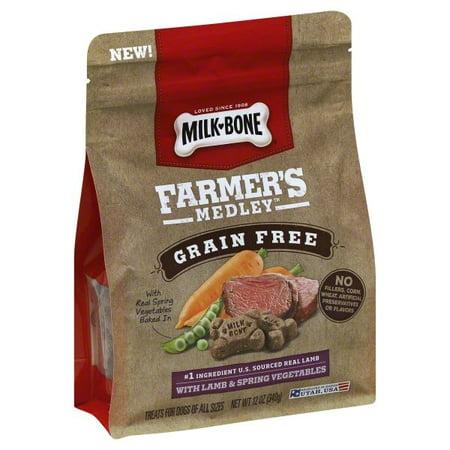 (3 pack) Milk-Bone Farmer's Medley Grain Free With Lamb & Spring Vegetables Dog Treats, - Vegetable Treat Sticks