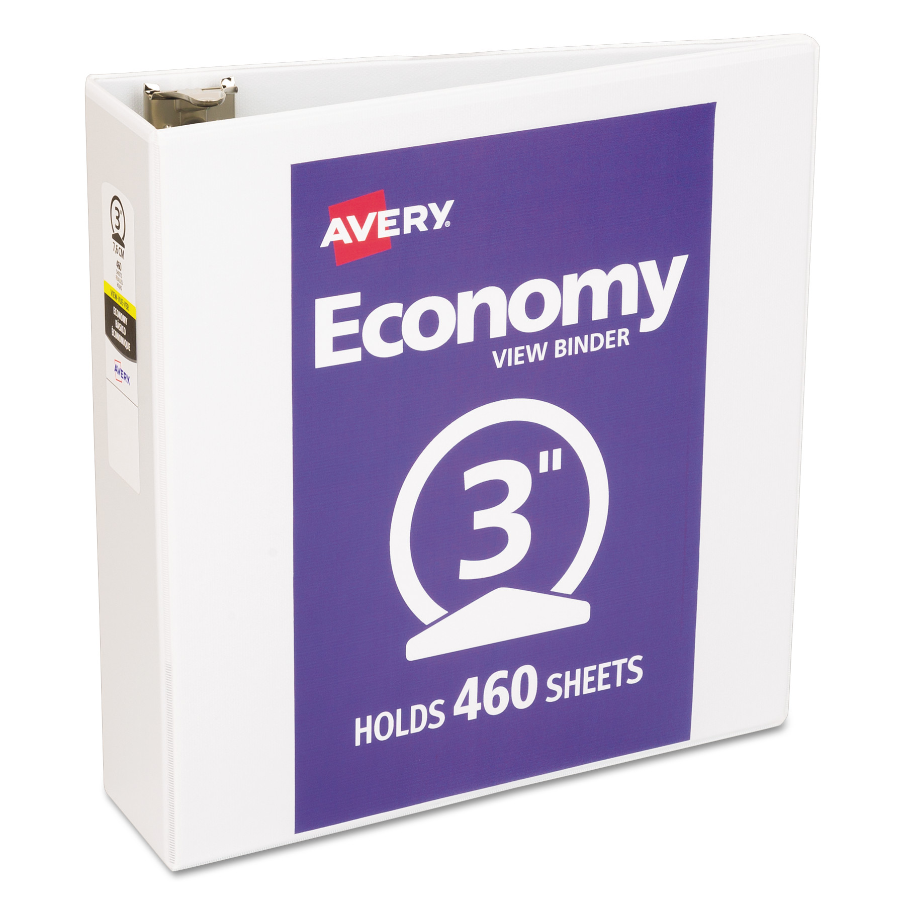 "Avery(R) Economy View Binder with 3"" Round Ring 5741, White"