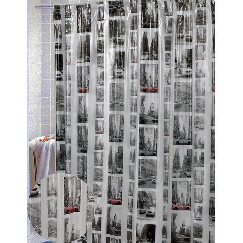 Carnation Home Fashions New York Vinyl Print Shower Curtain