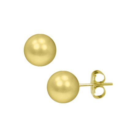 542b24200 iParis - Gold Button Ball 8mm Stud Earrings in 14K Yellow Gold ...