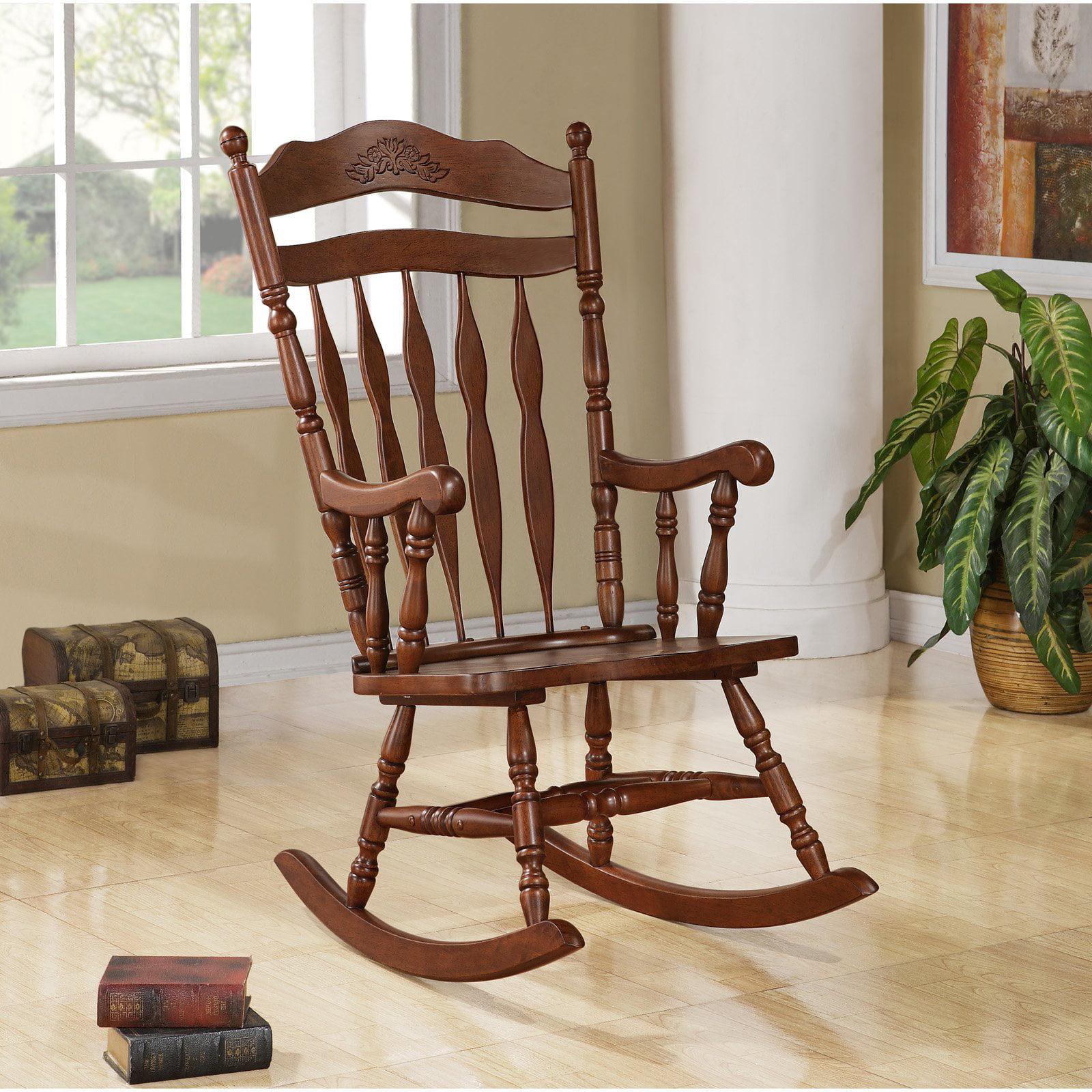 Solid Wood Rocking Chair, Dark Walnut by Monarch Specialties