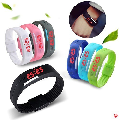 Creative Charming Wristwatches Unisex Silicone Red LED Sports Bracelet Touch Digital Wrist Watch