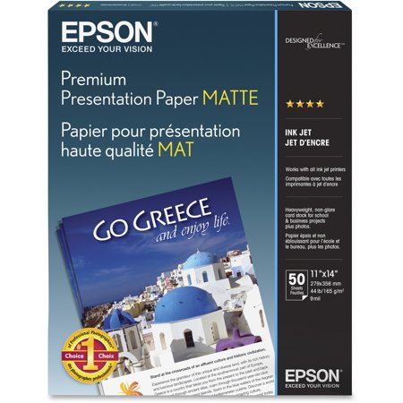 Epson, EPSS041468, Premium Matte Borderless Presentation Paper, 50 / Pack, White
