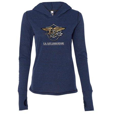 Ladies Navy Seals DEVGRU Hoodie Tee Shirt - Navy, 2XL