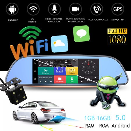 7'' 1080P Android 5 0 Car Mirror Monitor Android carvideorecorder DVR  bluetooth 3G Wifi GPS Dash Camera Rear View +Camera