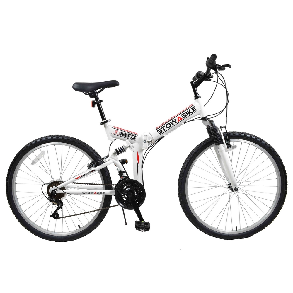 "Stowabike 26"" MTB V2 Folding Dual Suspension 18 Speed Gears Mountain Bike White"