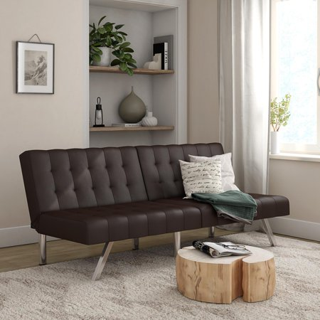 Mainstays Morgan Futon, Brown Faux Leather
