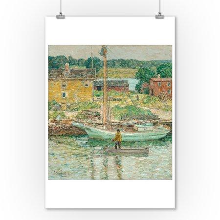 Oyster Sloop, Cos Cob - Masterpiece Classic - Artist: Childe Hassam c. 1902 (9x12 Art Print, Wall Decor Travel - Kids Cos
