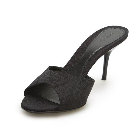 71a2ad90b24 Gucci - Gucci Women s Leather Fabric Horsebit Mid Heel Slides Black -  Walmart.com
