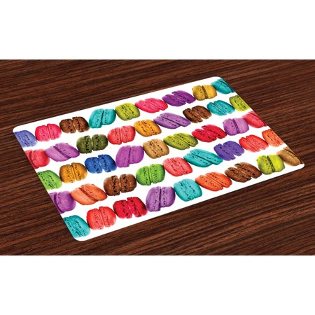 (Colorful Placemats Set of 4 French Macarons in a Row Coffee Shop Cookies Flavours Pastry Bakery Food Design, Washable Fabric Place Mats for Dining Room Kitchen Table Decor,Multicolor, by Ambesonne)