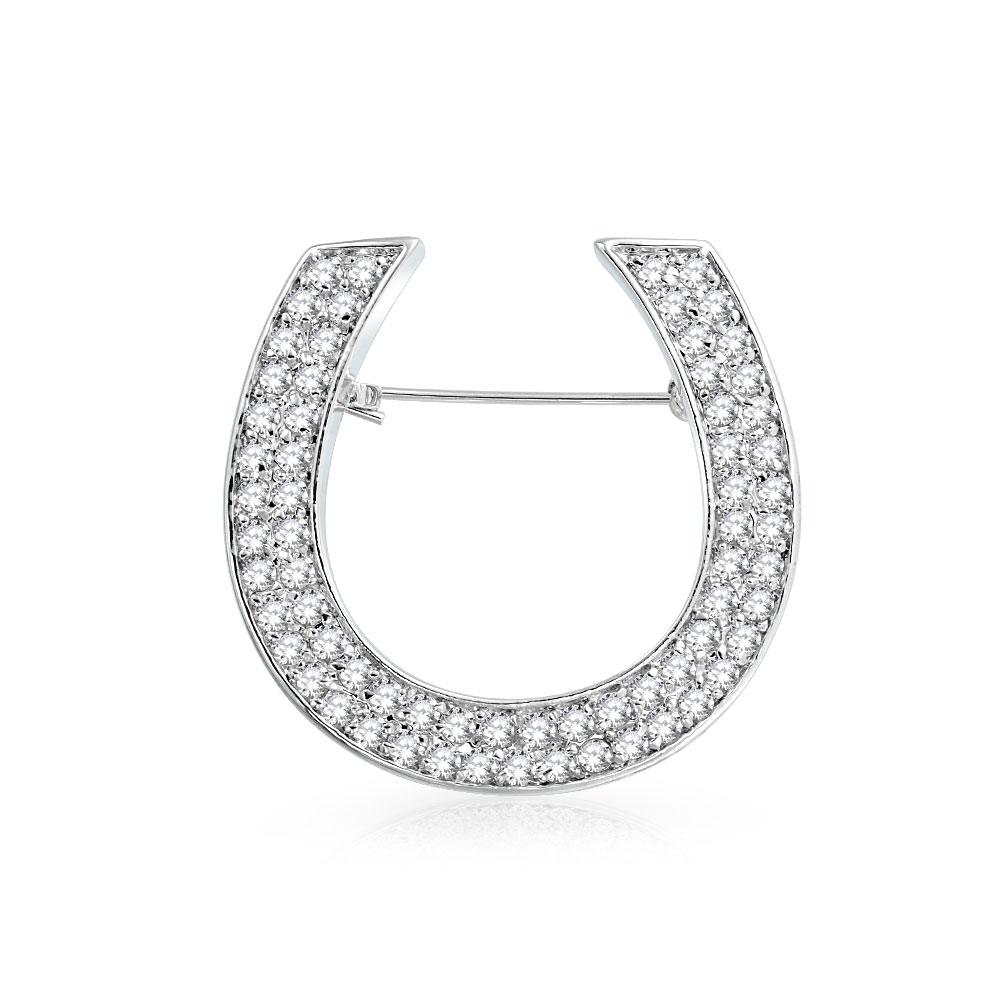 Bling Jewelry Pave Cubic Zirconia Equestrian Brooch Lucky Horseshoe Pin Rhodium Plated by Bling Jewelry
