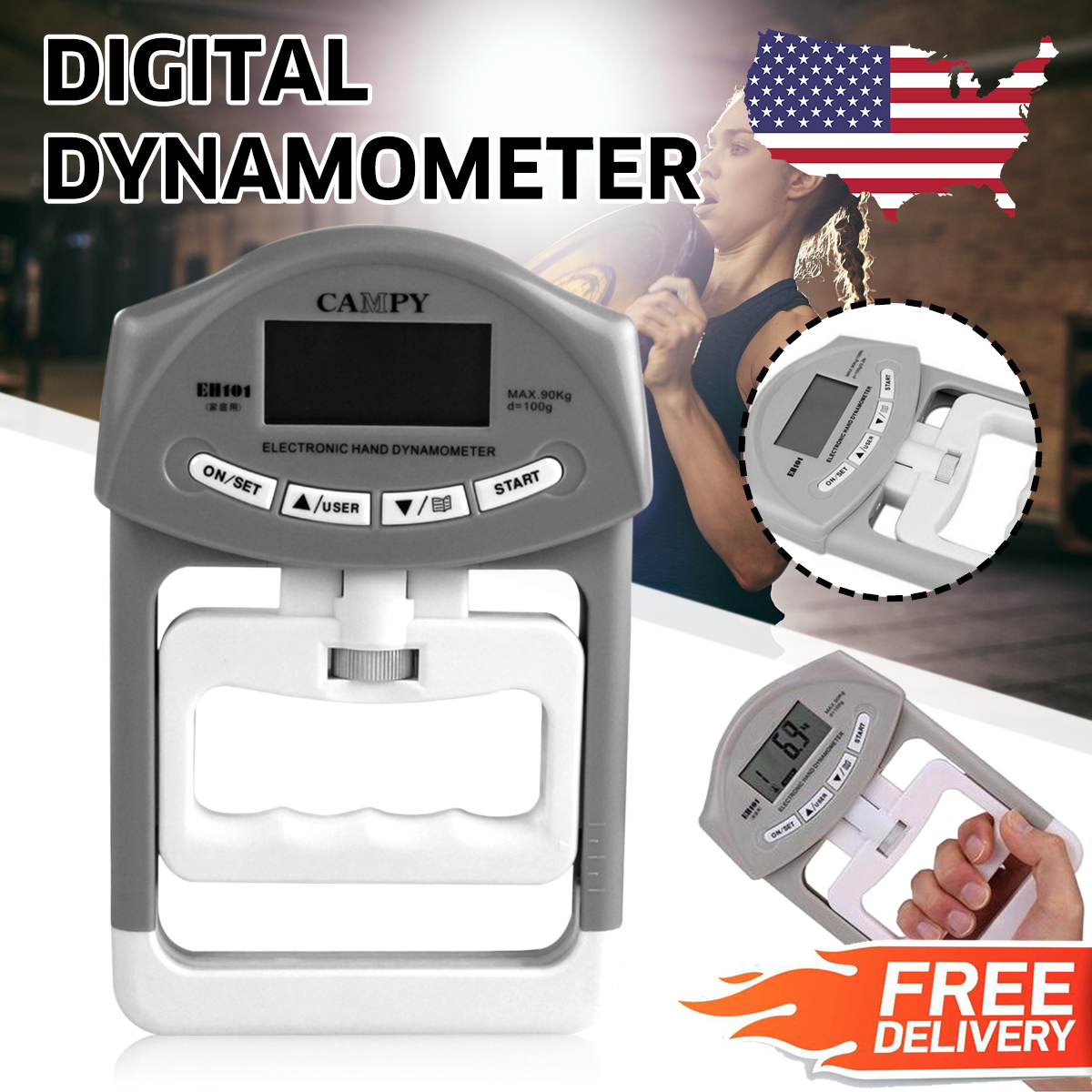 198lb/90kg Electronic Hand Grip Strength Digital Dynamometer Meter Train Measure Christmas Gift For your friends
