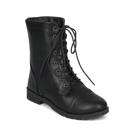 Women Leatherette Lace Up Low Stack Heel Combat Boot - 18140