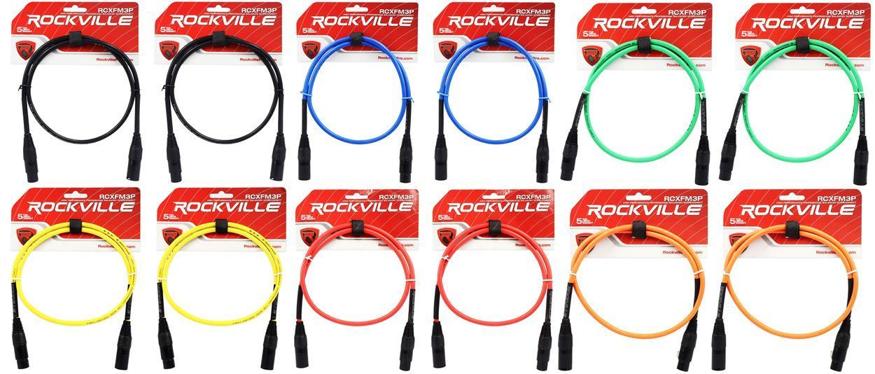 6 Colors x 2 of Each 12 Rockville 3/' Female to Male REAN XLR Mic Cable