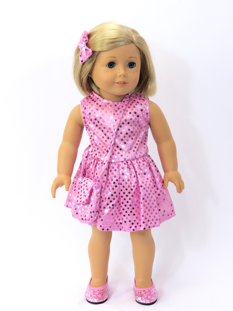 "Pink Sequin Dress with Matching Accessories- Fits 18"" American Girl Dolls, Madame... by"