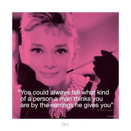 Audrey Hepburn Earrings Quote Holly Golightly Movie Icon Poster - 15.75x15.75 inch (Audrey Hepburn-holly Golightly Kostüm)