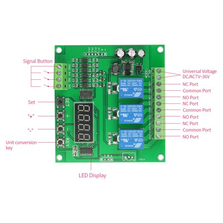 Programmable 3-Channel LED Relay Module DC/AC7V~36V Motor Driver Controller for Arduino Raspberry Pi - image 2 de 7