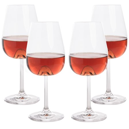 Stolzle (4 Pack) 17oz Lead Free Crystal Wine Glasses Set with Wine Aerator Cones Stemware Barware ()