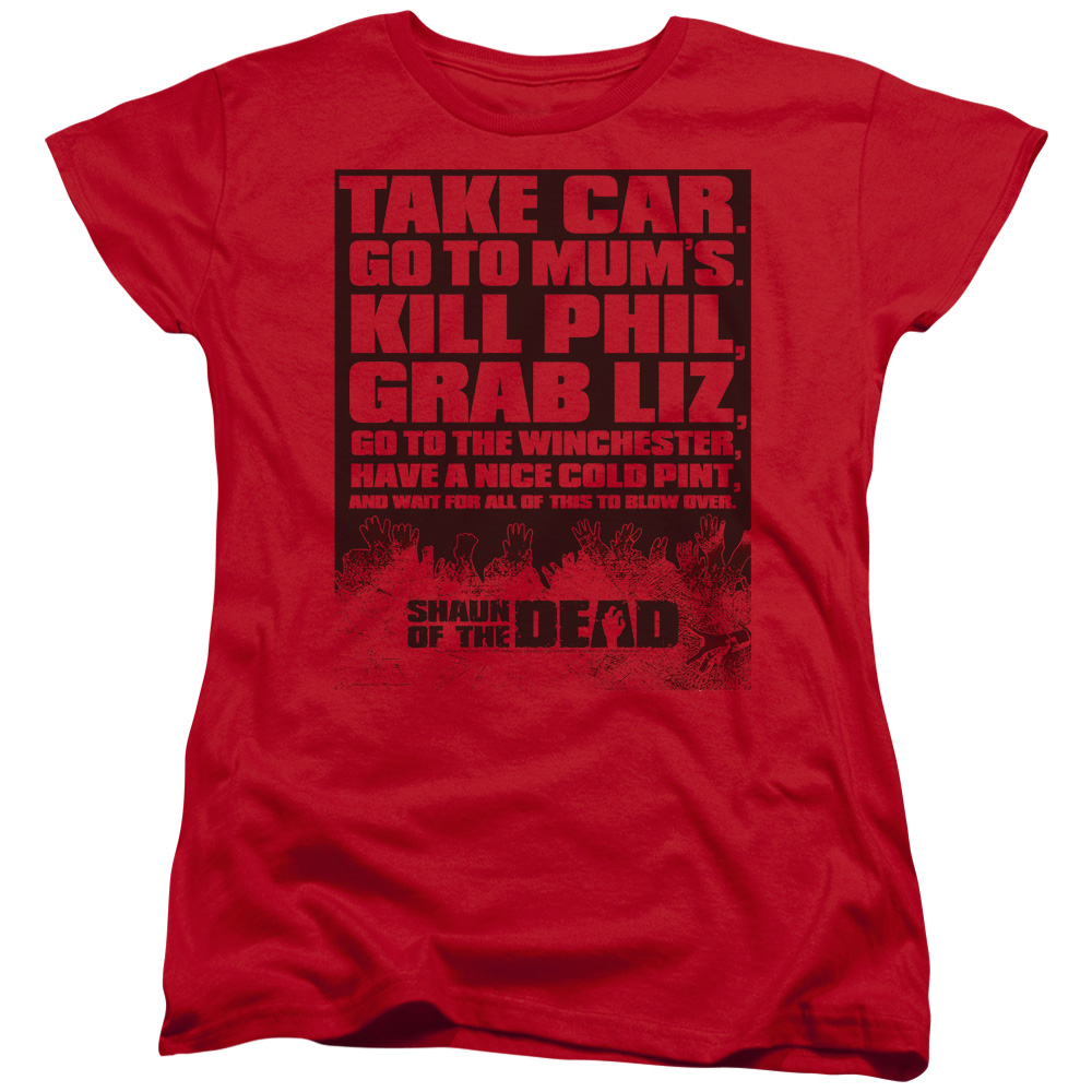 Shaun Of The Dead List Womens Short Sleeve Shirt