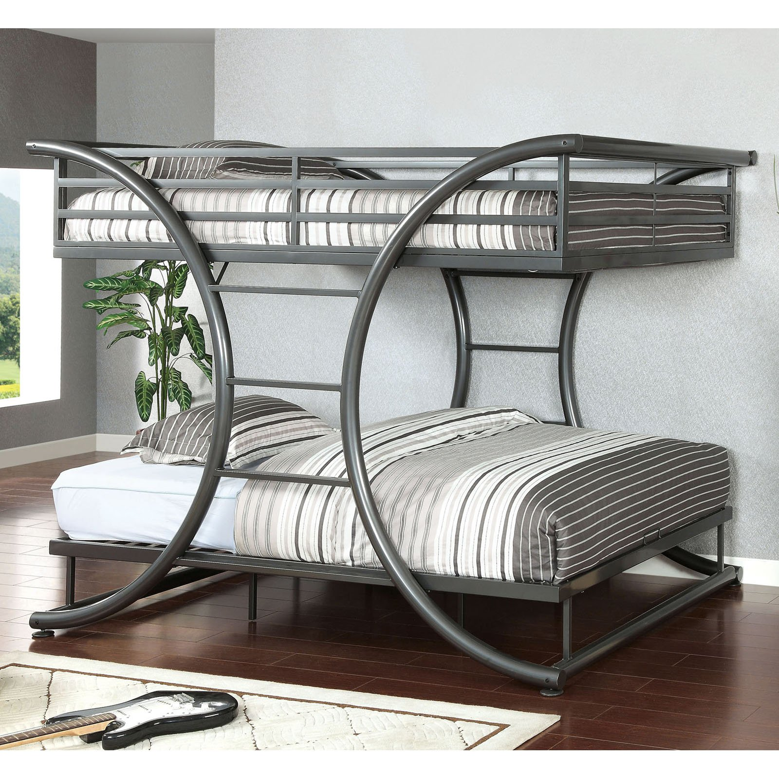 Zenner Unique Metal Full over Full Bunk Bed