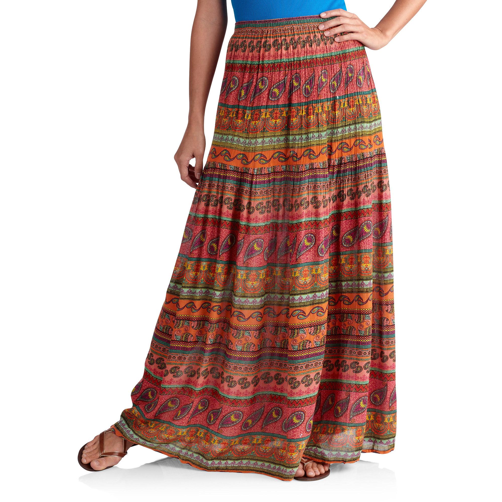Women's Printed Krinkle Boho Skirt