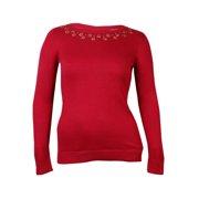 Maison Jules Women's Embellished Crew Neck Sweater