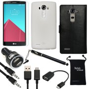 LG G4 Case, DigitalsOnDemand ® 9-Item Accessory Bundle for LG G4 - Black Leather Case, Rugged Cover, Screen Protector, Stylus, USB Cable, Dual Car Charger, Micro 2.0 USB OTG, Auxiliary, Travel Bag