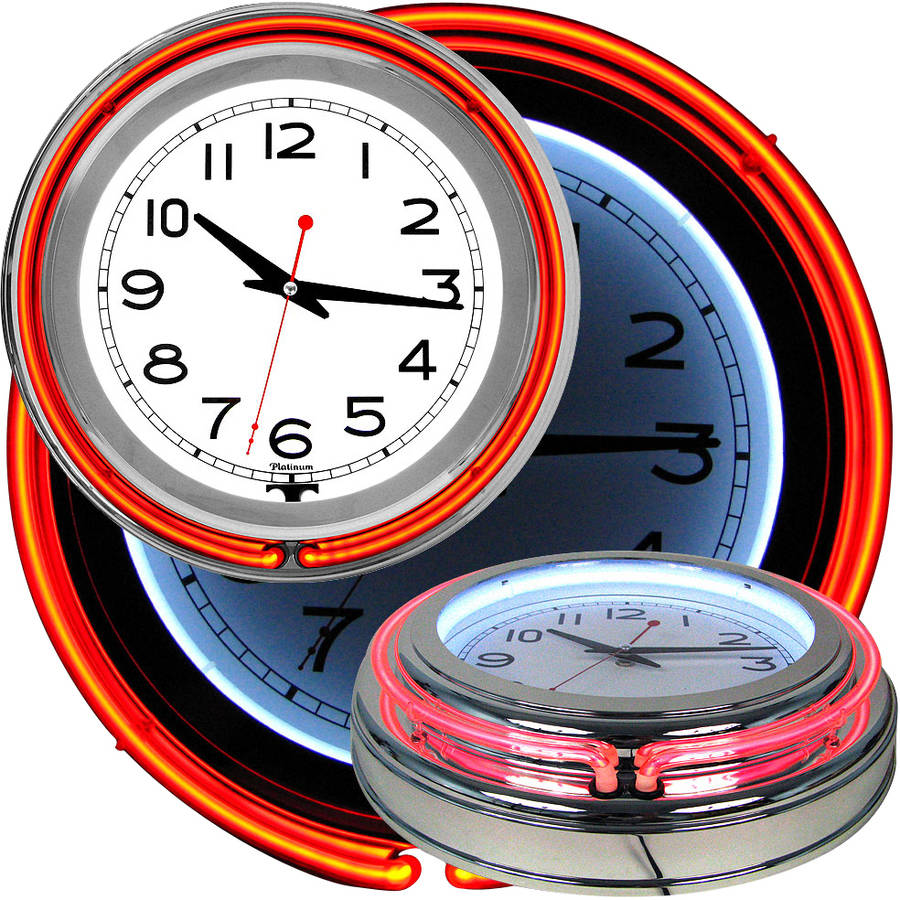 "14"" Double Ring Neon Clock, Orange Outer, White Inner"