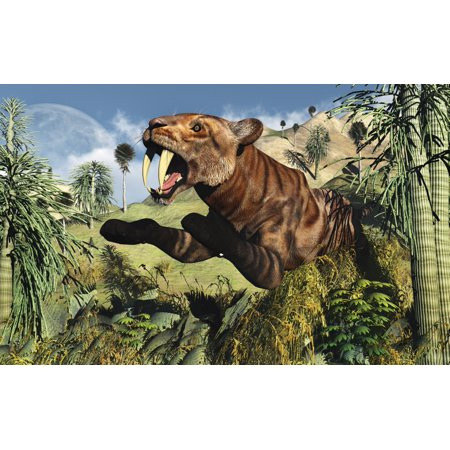 A Sabre Tooth Tiger springs its trap as it leaps out at any ususpecting prey Canvas Art - Mark StevensonStocktrek Images (36 x
