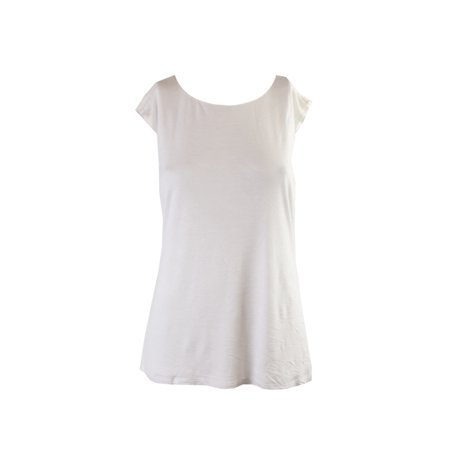 Ralph Lauren Womens Ivory Open Back Sleeveless Jewel Neck Top Size: L