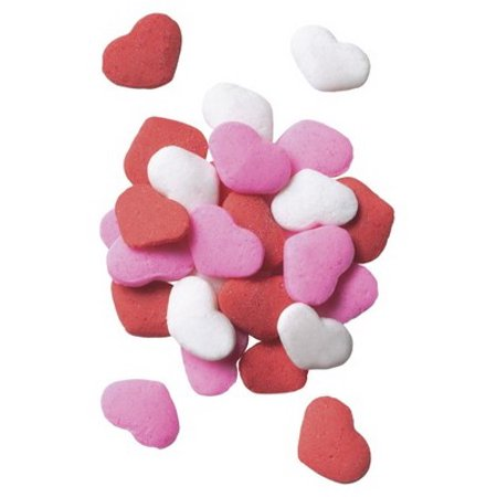 Red, White, Pink Valentine Heart Quins - Edible Cupcake & Cake Sprinkles - 2.6 - Pink Sprinkles