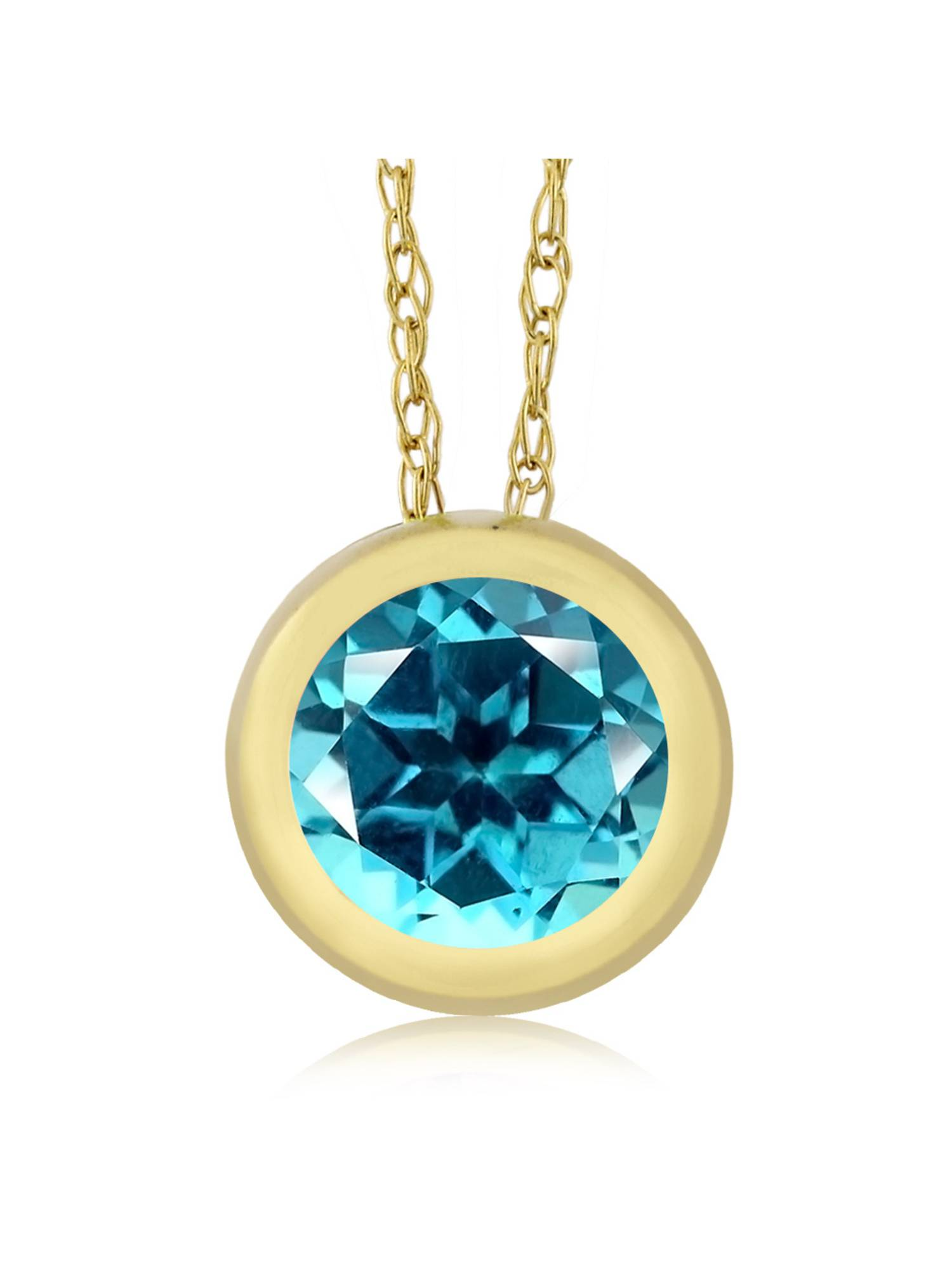 14K Yellow Gold Pendant Set with Round Paraiba Topaz from Swarovski by