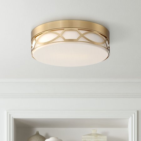 Possini Euro Design Modern Ceiling Light Flush Mount Fixture Satin Brass Drum 11 1/4