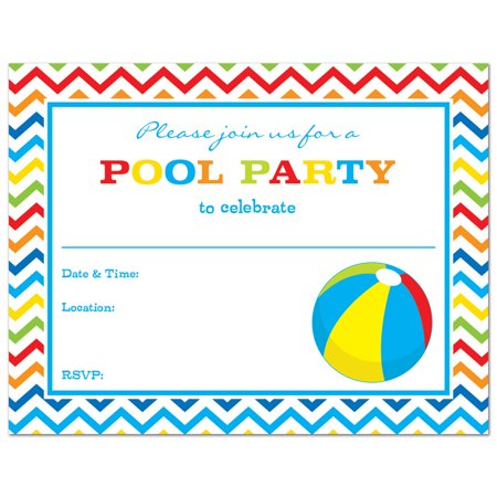 Beach Ball Fill-In Pool Party Invitations and Envelopes - 24 count