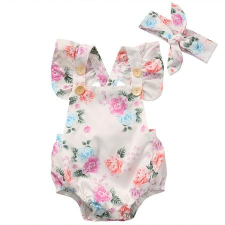 Flower Button Bodysuit - Baby Girls' Full Flower Print Buttons Ruffles Romper Bodysuit With Headband 0-18M
