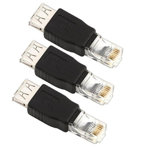 Insten 3 Pcs USB 2.0 Type A Female to Male RJ45 Ethernet Adapter Connector