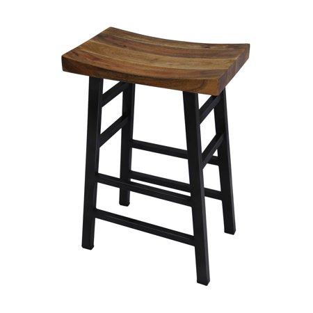 The Urban Port Wooden Saddle Seat 30 Inch Barstool With Ladder Base Brown And Black