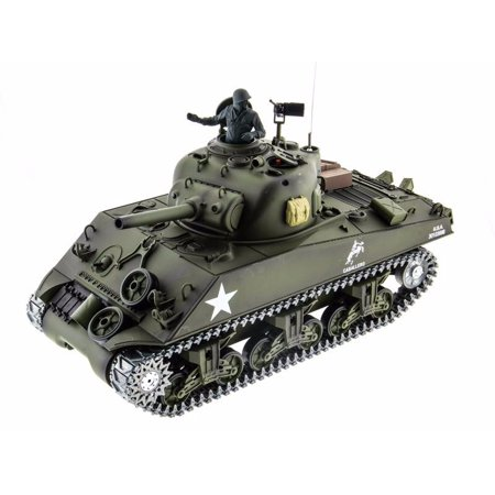 2.4Ghz Radio Control 1/16 US M4A3 Sherman 105mm Howitzer Air Soft RC Battle Tank w/Sound & Smoke (Upgrade Version w/ Metal Gear & Tracks) RC RTR