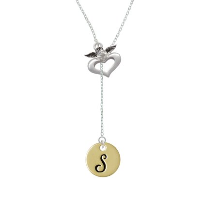 Large Gold Tone Disc Letter - S - 3/4'' - Guardian Angel Lariat Necklace - Guardian Angel Necklace