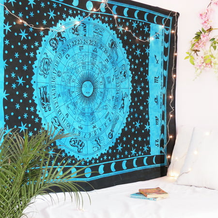 Black and Blue Horoscope Tapestry Astrology Wall Tapestry Hippie Indian Wall Hanging Outdoor Beach Picnic throw Blanket by Oussum Black Fluorescent Outdoor Hanging
