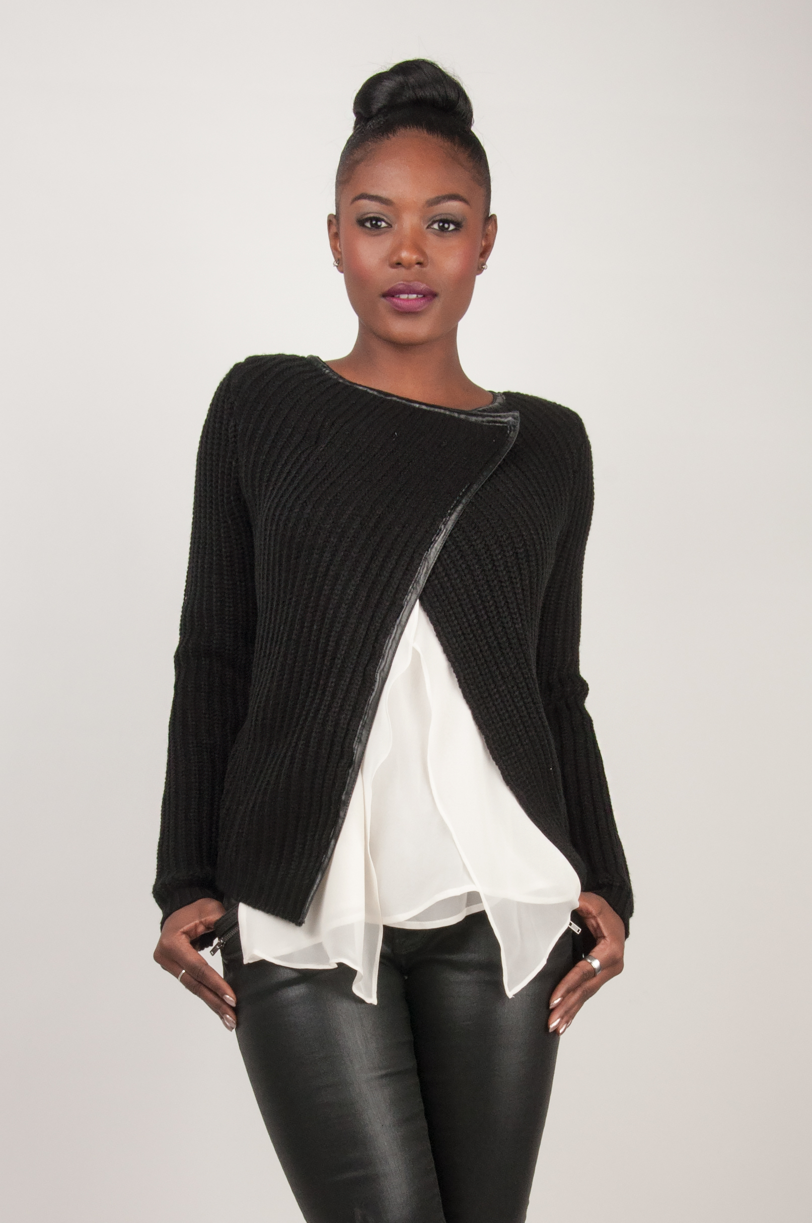 4f42146e23 Miss Halladay - Miss Halladay women cotton cable knit wrap sweater ...