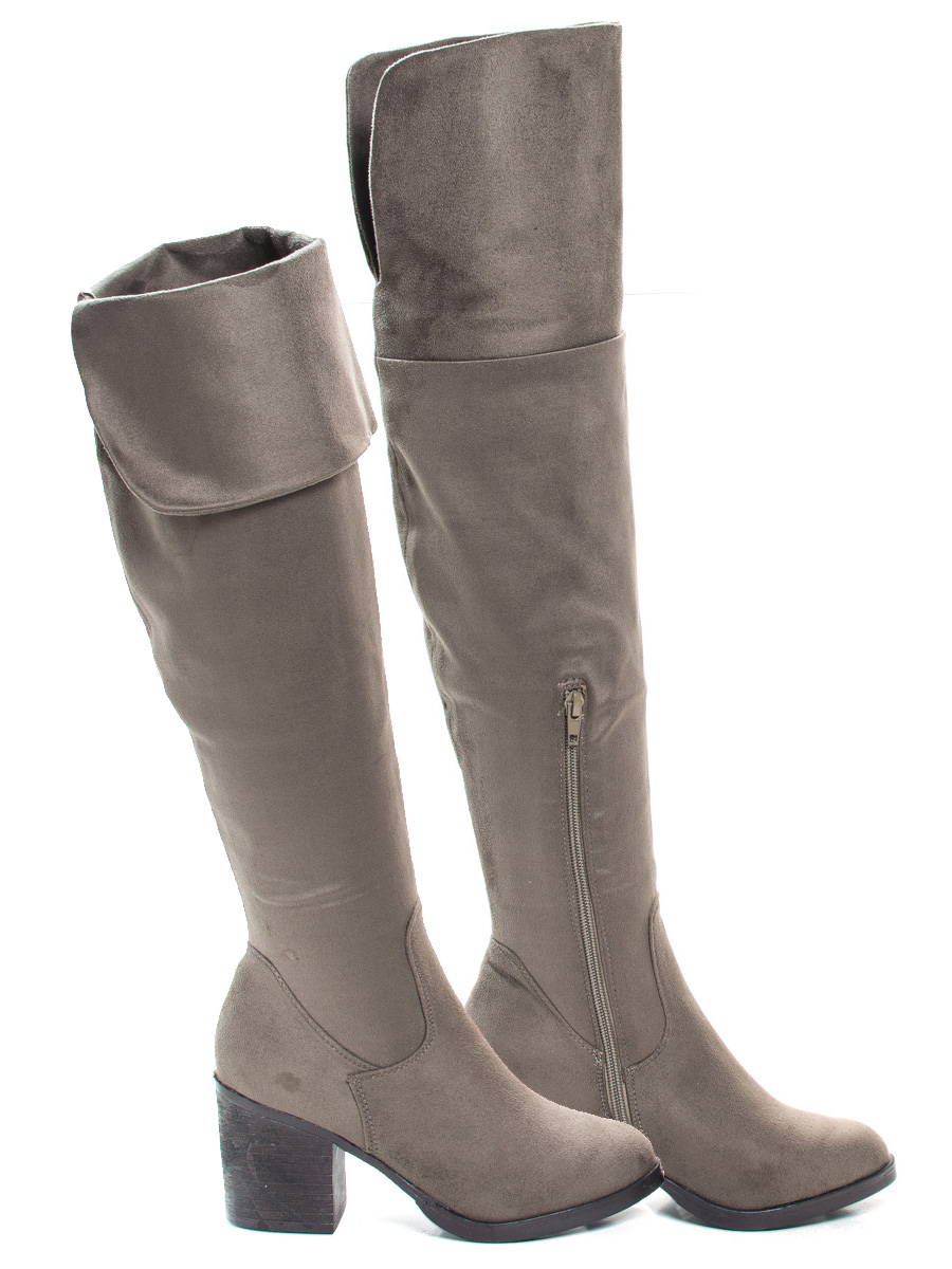 Victoria01 by Bamboo, Foldable Over Knee Dress Boots w Faux Fur Lining & Stack Block Heel