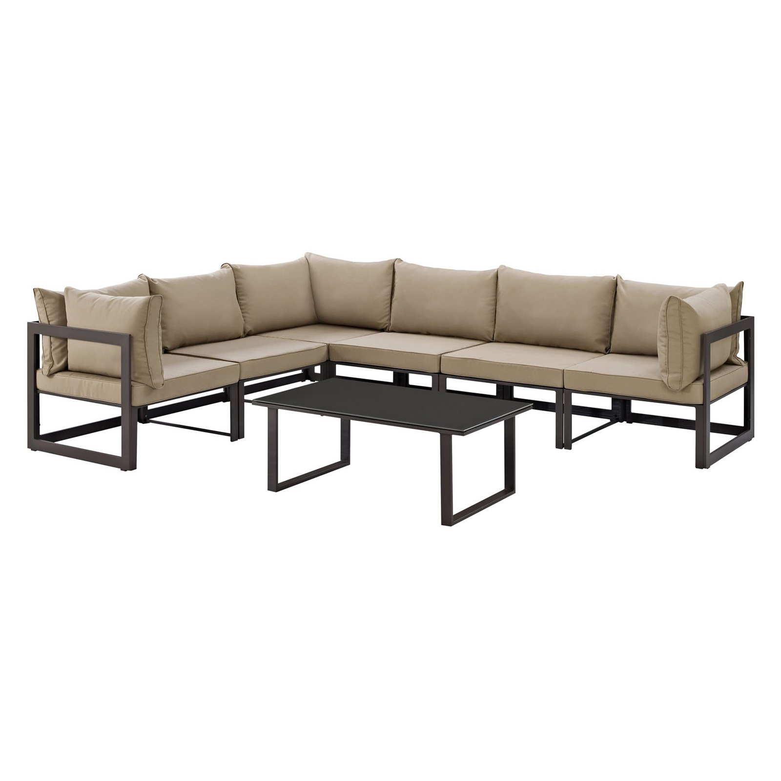 Modway Fortuna 7 Piece Outdoor Patio Sectional Sofa Set, Multiple Colors