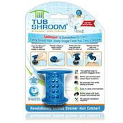 TubShroom Revolutionary Hair Catcher Drain Protector for Tub Drains (No More Clogs) Blue