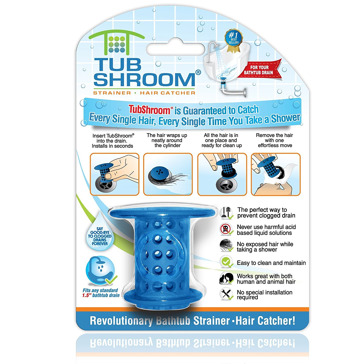 TubShroom Revolutionary Hair Catcher Drain Protector for Tub Drains (No More Clogs) Blue
