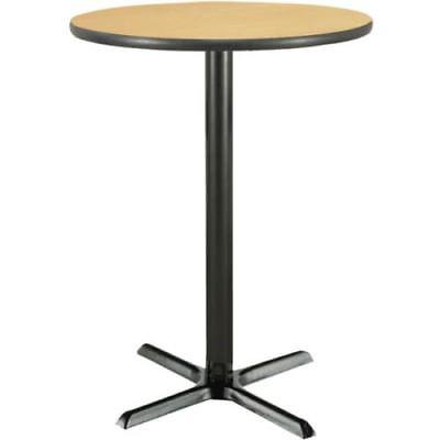 30 Inch Round Bar Height Pedestal Table W/ Natural Laminate Top, Cast Iron Base