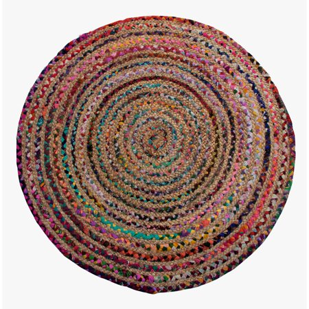 Astoria Natural Hemp And Dyed Chindi Braided Round Rug  Multi Color  3 Diameter