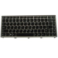 Laptop Keyboard for IBM Lenovo U310 ; fit part numbers T3D1-US 25-204949 AELZ7U00110 9Z.N7GSQ.D01 NSK-BCDSQ 01, Black with Silver-Grey Frame, US Layout