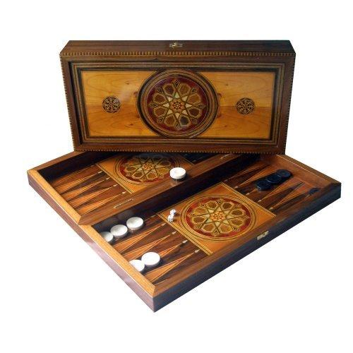 Medallion Inlay Folding Backgammon Set - Large