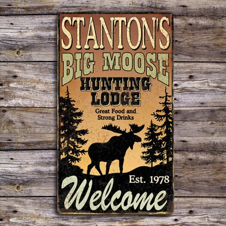 Personalized Big Moose Hunting Metal Sign
